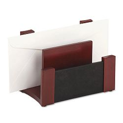 "Desktop Sorter WoodFaux Leather 6 34"" x 3 58"" x 4 34"" BlackMahogany (ROL81765)"