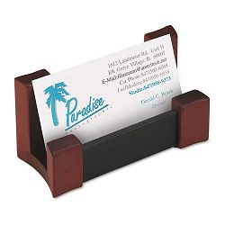 "WoodLeather Business Card Holder Capacity 50 2-14"" x 4"" Cards BlackMahogany (ROL81766)"