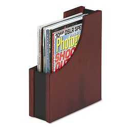 "Wood and Faux Leather Magazine File 3 12"" x 10"" x 11 1316"" BlackMahogany (ROL81768)"