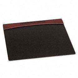 "Mahogany Wood and Black Faux Leather Desk Pad 23 78"" x 19 78"" x 1116"" (ROL81769)"