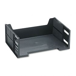 Stackable High-Capacity Side Load Letter Tray Polystyrene Ebony (RUB17601)