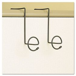 "Panelmate Wire Coat Hooks with Plastic Ends 7"" x 7 14"" Charcoal Pack of 2 (SAF4148CH)"