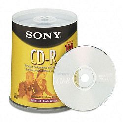CD-R Discs 700MB80min 48x Spindle Silver Pack of 100 (SON100CDQ80RS)