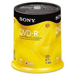 DVD-R Discs 4.7GB 16x Pack of 100 (SON100DMR47RS4)