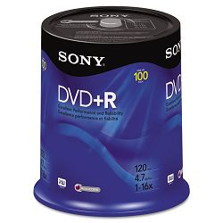 DVD+R Discs 4.7GB 16x Pack of 100 (SON100DPR47RS4)