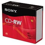 CD-RW Discs 700MB80min 4x with Jewel Cases Silver Pack of 10 (SON10CDRW700R)