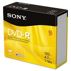 DVD-R Discs 4.7GB 16x Pack of 10 (SON10DMR47R4)