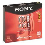 CD-R Discs 700MB80min 32x with Slim Jewel Cases Silver Pack of 5 (SON5CRM80L2V)