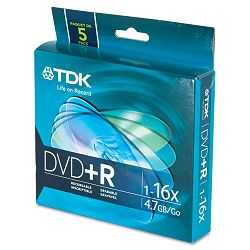 DVD+R Discs 4.7GB 16x with Slim Jewel Cases Pack of 5 (TDK48576)