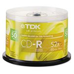 CD-R Discs 700MB80min 52x Spindle Shiny Silver Pack of 50 (TDK47959)