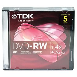 DVD-RW Discs 4.7GB 4x with Jewel Cases Silver Pack of 5 (TDK48425)