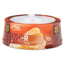 DVD-R Discs 4.7GB 16x Spindle Silver Pack of 25 (TDK48517)