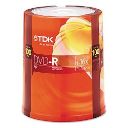DVD-R Discs 4.7GB 16x Spindle Pack of 100 (TDK48520)