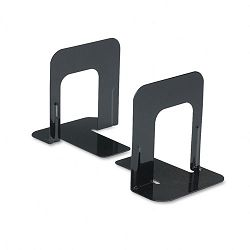"Economy Bookends Standard 4 34"" x 5 14"" x 5"" Heavy Gauge Steel Black (UNV54051)"