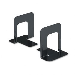 "Economy Bookends Nonskid 4 34"" x 5 14"" x 5"" Heavy Gauge Steel Black (UNV54055)"