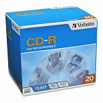 CD-R Discs 700MB80min 52x with Slim Jewel Cases Silver Pack of 20 (VER94936)
