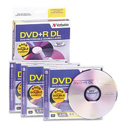 Dual-Layer DVD+R Discs 8.5GB 2.4x with Jewel Cases Pack of 3 Silver (VER95014)