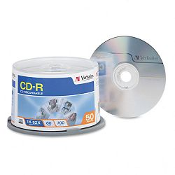 CD-R Discs 700MB80min 52x Spindle Silver Pack of 50 (VER94691)