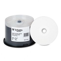 Inkjet Printable DVD+R Discs 4.7GB 16x Spindle White Pack of 50 (VER94917)