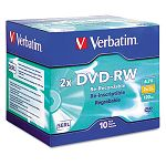 DVD-RW Discs 4.7GB 2x with Slim Jewel Cases Silver Pack of 10 (VER94918)