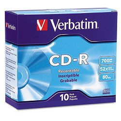 CD-R Discs 700MB80min 52x with Slim Jewel Cases Silver Pack of 10 (VER94935)