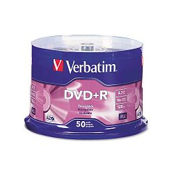 DVD+R Discs 4.7GB 16x Spindle Matte Silver Pack of 50 (VER95037)