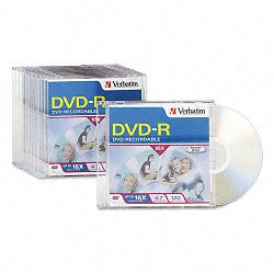 DVD-R Discs 4.7GB 16x with Slim Jewel Cases Pack of 10 (VER95099)