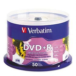 Inkjet Printable DVD+R Discs White Pack of 50 (VER95136)