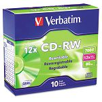 CD-RW Discs 700MB80min 12x with Slim Jewel Cases Silver Pack of 10 (VER95156)