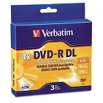 Dual-Layer DVD-R Discs 8.5GB 4x with Jewel Cases Pack of 3 Silver (VER95165)