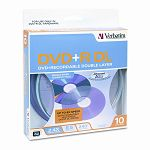 Dual-Layer DVD+R Discs 8.5GB 2.4x Spindle Pack of 10 Silver (VER95166)