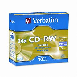 CD-RW Discs 700MB80min 24x with Slim Jewel Cases Matte Silver Pack of 10 (VER95174)