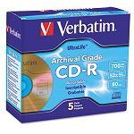 CD-R Archival Grade Disc 700MB 52x with Jewel Case Gold Pack of 5 (VER96319)