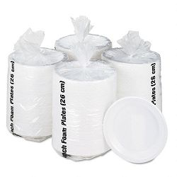 "Non-Laminated Foam Dinnerware Plates 10-14"" Diameter White Carton of 500 (BWK10FPL)"