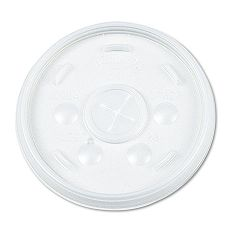 Plastic Lids for 16 oz. HotCold Foam Cups Straw Slotted Translucent Pack of 100 (DRC16SLPK)