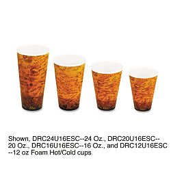 Foam HotCold Cups 24 oz. BrownBlack Carton of 500 (DRC24U16ESC)