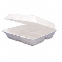 Carryout Food ContainersFoam Hinged 3-Compartment8-38x7-78x3-14200Carton (DRC85HT3)