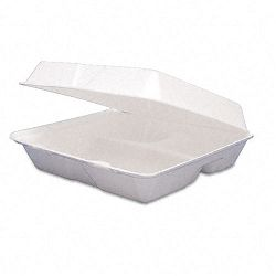 Carryout Food Container Foam Hinged 3-Compartment 9-12 x 9-14 x 3 200Ctn (DRC95HT3)