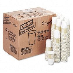 Cold Drink Cups Polycoated Paper 16 oz. Sage 24 Packs of 50Carton (DXE16PSAGECT)