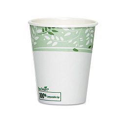 EcoSmart Hot Cups PLA Lined Paper Viridian 10 oz. Pack of 50 (DXE2340PLAPK)
