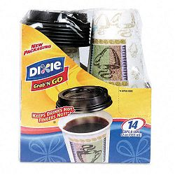 Combo Box Paper Hot 12 oz. Black Lid 14 Cups & LidsPack (DXE5342DXGNG)