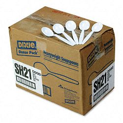 Plastic Tableware Heavyweight Soup Spoons Carton of 1000 White (DXESH217)
