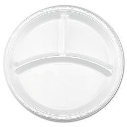 "Tableware Plates Round 10"" dia. 3-Compartments White Carton of 500 (DZOGFP103500)"