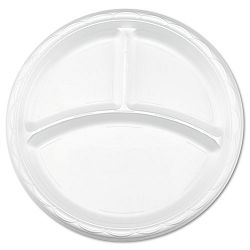 "Tableware Plates Round 9"" dia. 3-Compartments White Carton of 500 (DZOGFP93500)"