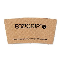 EcoGrip Renewable Resource CompostableRecyclable Cup Sleeve Kraft 1300Ctn (ECOEG2000)