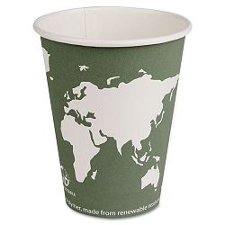 World Art Renewable Resource Hot Drink Cups wLids 12 oz. 50 Cups-50 LidsBox (ECOEPAHCL12)