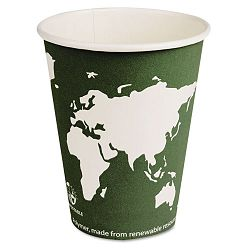 World Art Renewable Resource Compostable Hot Cups 12 oz. Green 1000Ctn (ECOEPBHC12WA)