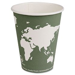 World Art Renewable Resource Compostable Hot Cups 12 oz. Green Pack of 50 (ECOEPBHC12WAPK)