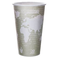 World Art Renewable Resource Compostable Hot Cups 16 oz. Seafoam Green Pack of 50 (ECOEPBHC16WAPK)