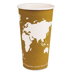 World Art Renewable Resource Compostable Hot Drink Cups 20 oz. Tan Carton of 1000 (ECOEPBHC20WA)